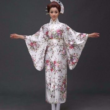 Japanese Traditioinal Satin Kimono Classic Dress Floral One Size Midi Dress