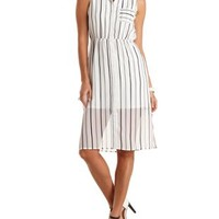 Striped Chiffon Midi Shirt Dress by Charlotte Russe