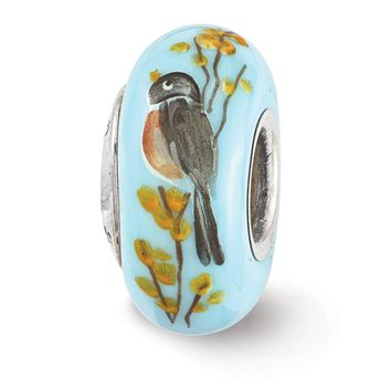 Fenton Blue Hand Painted Robin forsythia Glass & Sterling Silver Charm