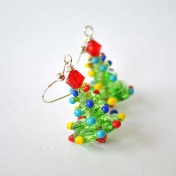 Christmas Tree Earrings, Christmas Jewelry, Lampwork Glass Bead Earrings, Festive Holiday Jewelry , Colorful Earrings