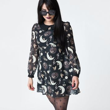 Black & Catstellation Sheer Long Sleeve Wednesday Skater Dress