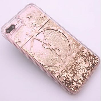 YSL New iPhone8 Mobile Shell 7plus Beads Soft Edge Diamond Phone Case F0287-1 gold