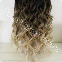 "12"" Ombre Dip Dye Clip In Human Hair Extensions Beautiful Brown to Blonde Ombre Dip Dye Clip In Human Hair Extensions"