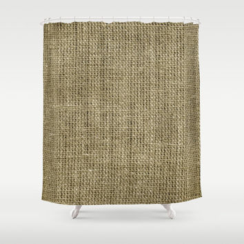Shower Curtain - Burlap Look - Rustic Decor - Woodland Decor - Farmhouse Chic - Cabin Decor - Cottage Chic - Boho Decor