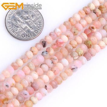 Gem Inside Aaa Natural Heishi Rondelle Disc Spacer Pink Opal Beads For Jewelry Making Strand 15inches Diy Jewellery