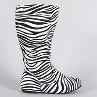 KIDS Girl Zebra Slouchy Round Toe Boots