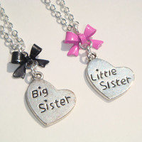 Big or Little Sister Necklace - Kids Jewelry - Sibling Necklace - Sister Jewellery - Childs Necklace - Girls Jewelry - Heart Charm Jewelry