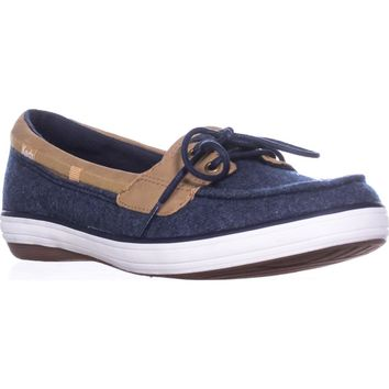 Keds Glimmer Lace Up Boat Shoes, Navy, 9.5 US / 40.5 EU