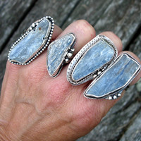 Sterling Silver and Blue Kyanite Rings, Statement Rings