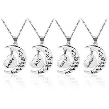 Sykesha 2018 Family Pendant Necklace I Love You To The Moon&back Son Brother Daughter Sister Mom Dad Grandpa Grandma Uncle Aunt