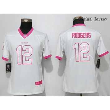 Danny Online Nike NFL Jersey Women's Vapor Untouchable Pink Color Rush Green Bay Packers #12 Aaron Rodgers Football Jersey White