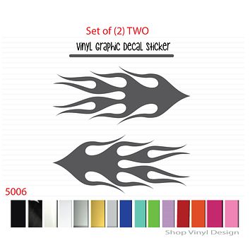 Flames Vinyl Graphic Decal Sticker  - STYLE F5006 - Set of (2)