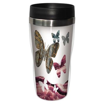 Granite Silhouette Butterflies Travel Mug - Premium 16 oz Stainless Lined w/ No Spill Lid