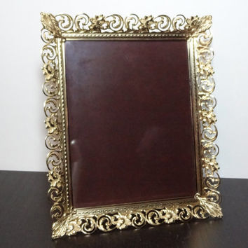 Vintage Antiqued Ornate Metal Filigree 8 x 10 Hollywood Regency/Shabby Chic Gold Tone Picture Frame with Yellow Tinted Wash