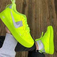 NIKE AIR FORCE 1 AF1 OW Running Sport Shoes Sneakers fluorescent green