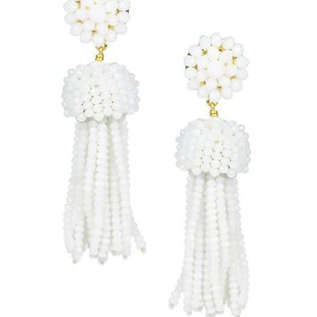 Tassel Earrings in Czech White