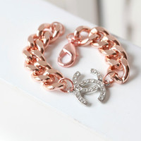 CHANEL Inspired Chunky Rose gold  Chain Bracelet