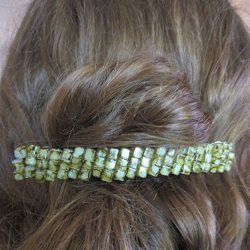 Wire Wrapped Green Stone Beaded Barrette Hair Clip