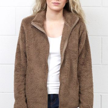 Snuggled Up Fleece Sherpa Jacket {Mocha}