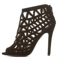 Black Qupid Laser Cut-Out Caged Booties by Qupid at Charlotte Russe