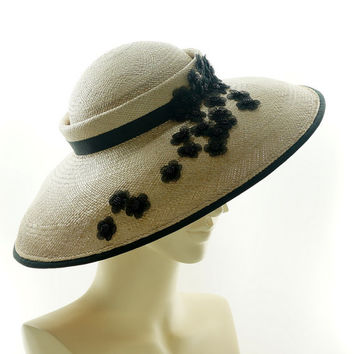 Vintage Style SAUCER HAT - Taupe Panama Straw Boater Hat