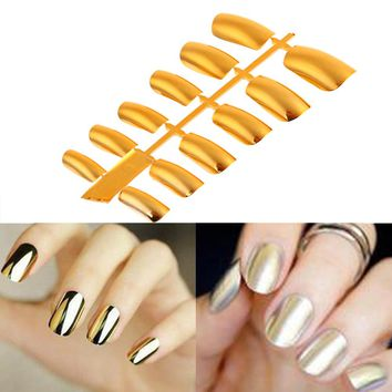 12pcs Acrylic Nail Tips Shiny Punk Style Metallic Metal Gold Silver Color Fake False Nails Long Size