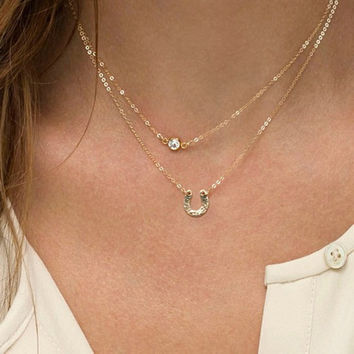 Gold Layer Necklace Simple Minimal Necklace Double Thin Chain with U Charm Delicate Necklace Horseshoe Necklace For Women Free