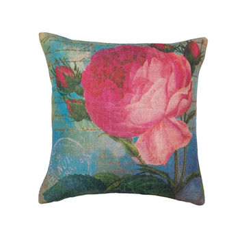 PINK ROSE PRINT PILLOW