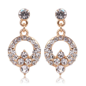 Bridal Dangle Golden Chandelier Crystal