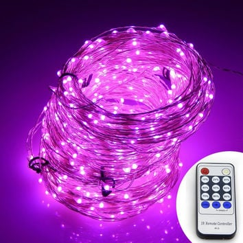 Pink Firefly Fairy String LED Plug In Lights with Remote