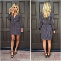 Navy Diamond Wrap Dress