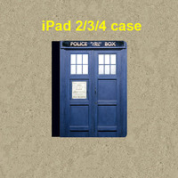 ipad 4 case,ipad 3 case,ipad 2 case,ipad 2 cover,ipad 3 cover,ipad 4 cover,ipad leather case--Tardis Doctor Who,in leather.