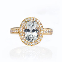 "Erica Courtney Gorgeous & Engaged - Sophia"" Oval-Cut Diamond Yellow Gold Engagement Ring 