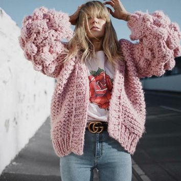 Mohair Hand Knitted Cardigan Sweater Women Coarse Sweater Women Winter Lantern Sleeve Cardigan Female sueter mujer