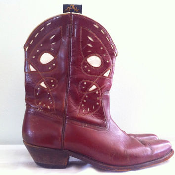 Vintage GODING All Leather Brown Ankle Boots with White Inlay