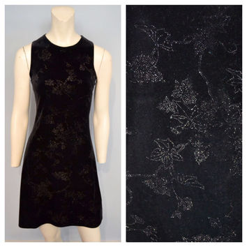 Vintage 1990's Slinky Velvet Little Black Dress with Glitter Floral Pattern - Juniors Size 7/8