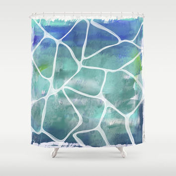 Water ray reflection shower curtain decor, modern decorative blue turquoise poolside pattern bathroom art