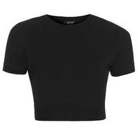 Funnel Neck Cropped Tee - Black