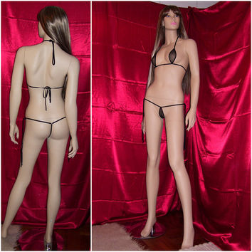 Tie side sheer custom set lingerie see trought womens underwear made to measure - ALICE -  Custom colors, fabrics and size - Made to order