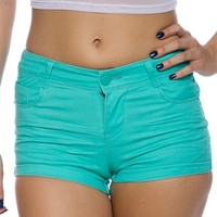 Glow on Ahead Neon Cuffed Shorts - Aqua