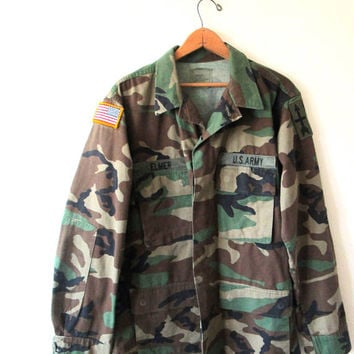 Vintage ELMER US Army Military Patched Camo Camouflage Jacket Sz M