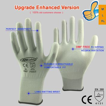 NMSAFETY High Quality 12 Pairs Environmentally Not DMF White Nylon Cotton Knit Antistatic Work Glove