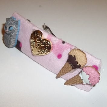 Hair Barrette - Grey Cat loves Ice Cream Double Time - on Pink (Right) - Cat Ornament Hair Clip