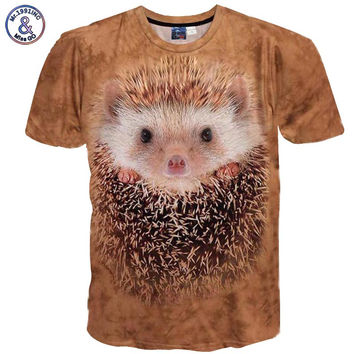 Mr.1991INC Spring Summer Fashion Men/Women's 3d t-shirt funny printed  Hedgehog top tees Tshirt Male T shirt clothing DW14