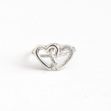 Antique Victorian Sterling Silver Intertwined Double Heart Ring - 1900s Size 3 3/4 Dainty Stick Pin Conversion Romantic Symbolic Jewelry