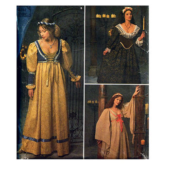 WOMEN'S RENAISSANCE GOWNS Laced Bodice Dress Costume Historical Middle Ages Reenactment Simplicity 8192 Bust 34 36 38 UNCuT Sewing Patterns