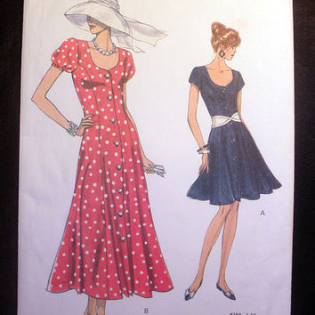 Women's Fitted and Flared Dress Misses' Size 12, 14, 16 Vintage Vogue 8384 Sewing Pattern Uncut