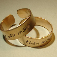 Bronze ring set I love you more than words can say by NiciLaskin