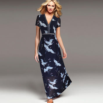 Vfemage Womens Elegant Vintage Chiffon Sexy V Neck Crane Print Charming  Fit and Flare Casual Party Prom Maxi Long Dress 2528
