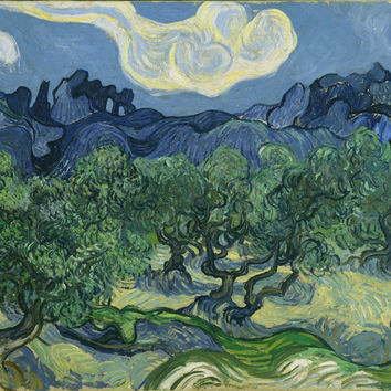Olive Trees With The Alpilles In The Background - Vincent Van Gogh